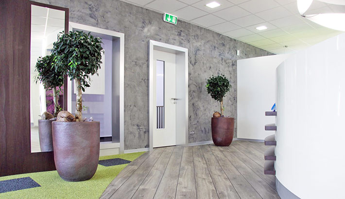 objects.sh Arztpraxis Empfang Tresen Eingang Wandbekleidung