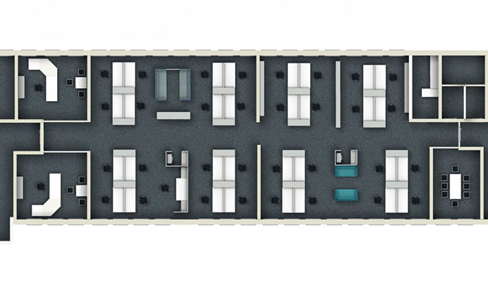 objects.sh Büroeinrichtung Großraumbüro Schreibtisch 3D-Planung