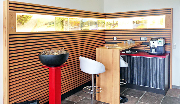 objects.sh Büroeinrichtung Kaffeeecke Stehtisch Tresen