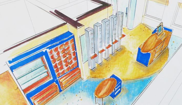 objects.sh Ladenbau Brillengeschäft 3D-Darstellung Skizze